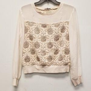 Rebecca Minkoff Embroidered Silk Trim Top Size S
